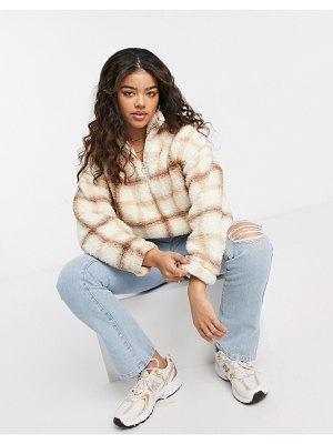 Hollister sherpa half zip sweater in check-multi