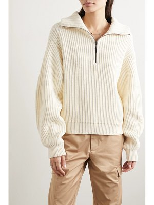 Holzweiler funnyface zip-detailed ribbed cotton-blend sweater
