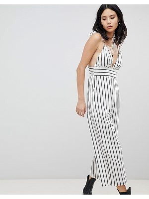 Honey Punch Plunge Front Jumpsuit In Stripe
