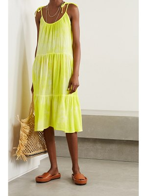 Honorine daisy tiered tie-dyed crinkled cotton-gauze dress