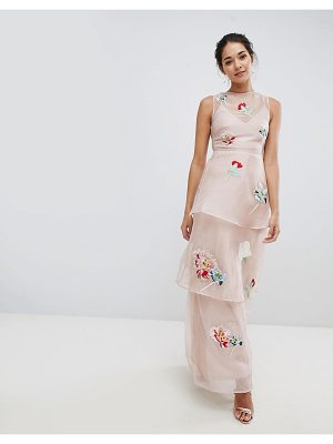 Hope and Ivy Hope & Ivy Organza Embroidery Maxi Dress