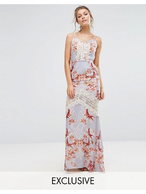Hope and Ivy Hope & Ivy Printed Maxi Dress With Low Back And Eyelash Lace Trim