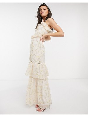 Hope & Ivy bridesmaid tiered ruffle cami maxi dress in ditsy ivory floral-multi