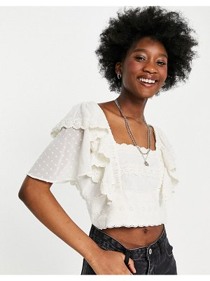 Hope & Ivy broderie frill sleeve crop top in ivory-multi
