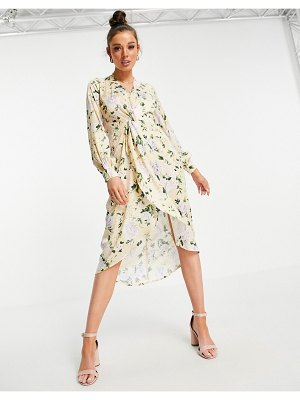 Hope & Ivy long sleeve twist front kimono midi dress in pastel yellow floral