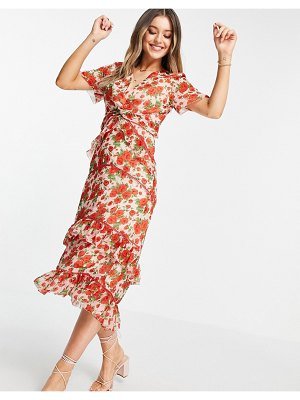 Hope & Ivy made with liberty fabric tiered frill midi dress in poppy print