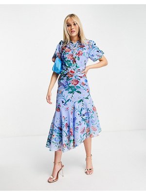 Hope & Ivy puff sleeve asymmetric belted midi dress with poppy print in bright blue-blues