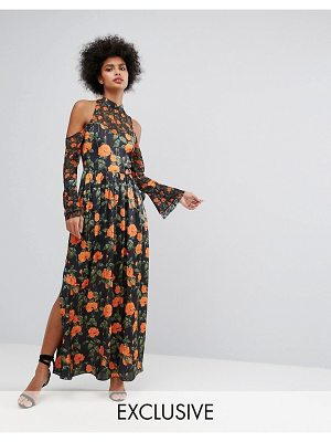 Horrockses maxi dress with fluted tie sleeves in floral print-multi