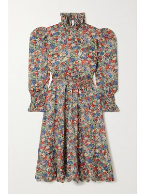 HORROR VACUI collia scalloped smocked floral-print cotton dress