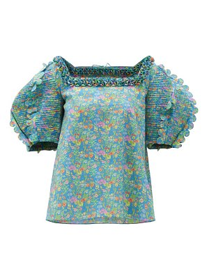 HORROR VACUI isabella scalloped floral-print cotton blouse