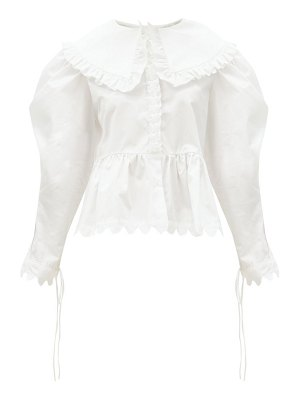 HORROR VACUI lisi exaggerated-collar ruffled cotton blouse