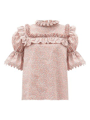 HORROR VACUI lucy scalloped floral-print cotton blouse