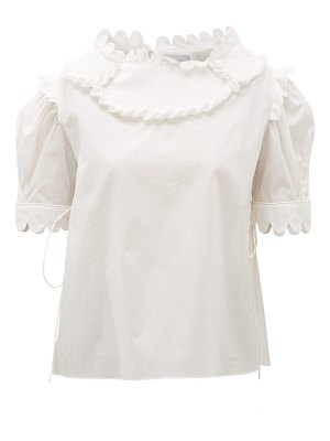 HORROR VACUI mary scalloped cotton blouse