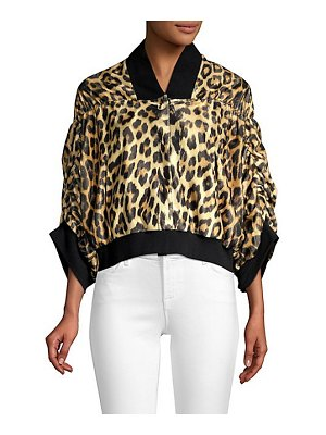 House of Fluff leopard print bomber jacket