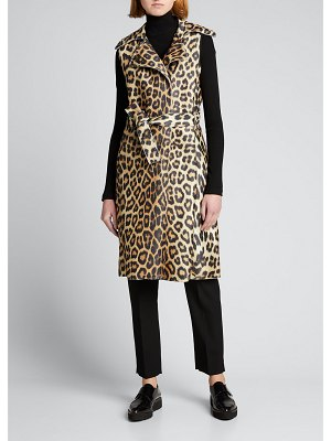 House of Fluff Leopard-Print Trench Vest