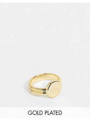 House of Freedom double band ring with gemstone in gold plate