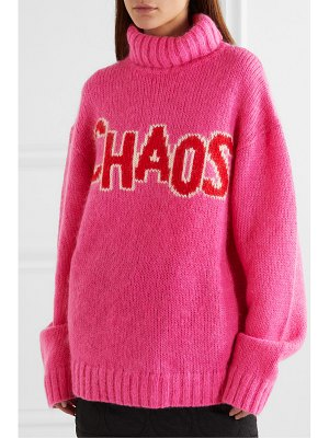 HOUSE OF HOLLAND chaos oversized intarsia knitted turtleneck sweater