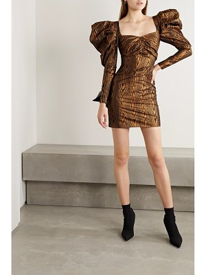 HOUSE OF HOLLAND metallic printed taffeta mini dress