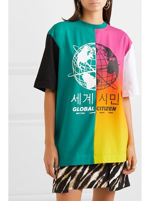 HOUSE OF HOLLAND oversized paneled printed cotton-blend jersey t-shirt