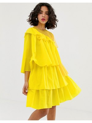 HOUSE OF HOLLAND rip stop extreme frill dress-yellow