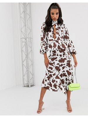 House of Stars bias cut skirt in cow print with ruffle hem two-piece-white