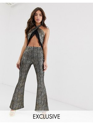 House of Stars metallic flare pants with zip front two-piece-black