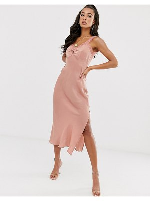 House of Stars satin slip dress with high split and lace detail-pink
