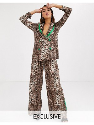 House of Stars wide leg pants in velvet leopard with side stripe two-piece-brown