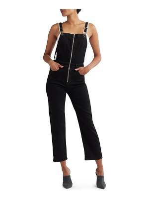 Hudson Avalon Zip-Front Cropped Coverall Denim Jumpsuit