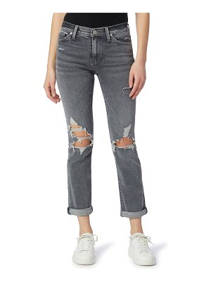 Hudson Nico Mid-Rise Straight Ankle Jeans with Rolled Hem