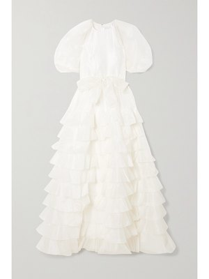 HUISHAN ZHANG april belted ruffled tiered silk-organza gown