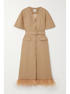 HUISHAN ZHANG ariel feather-trimmed belted cotton-blend coat