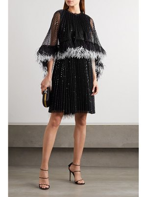 HUISHAN ZHANG dora feather-trimmed pleated sequined tulle dress