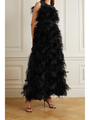HUISHAN ZHANG mystique feather-trimmed cutout silk-organza gown
