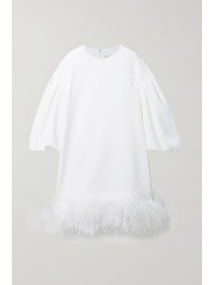 HUISHAN ZHANG poppy feather-trimmed crepe mini dress