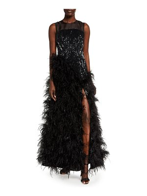 HUISHAN ZHANG Sequined Feather-Skirt Gown