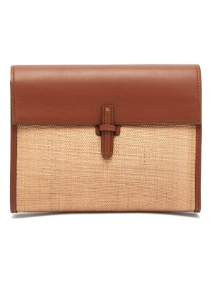 Hunting Season leather trimmed woven clutch bag