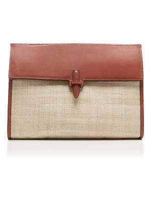 Hunting Season small leather-trimmed woven clutch