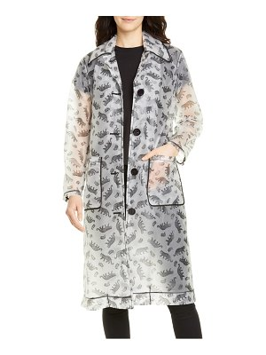 HVN jen cheetah print translucent trench raincoat