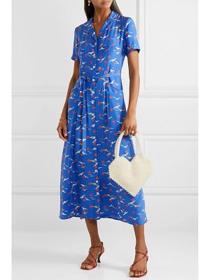 HVN long maria printed silk crepe de chine midi dress