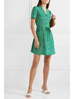 HVN maria printed silk crepe de chine mini dress