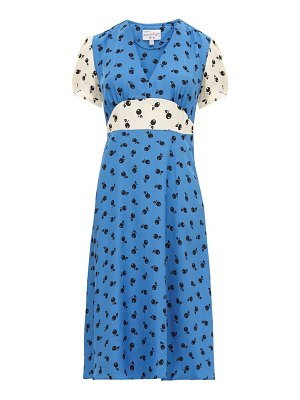 HVN paula cherry-print silk midi dress