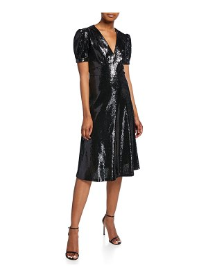 HVN Paula Deep V-Neck Sequined Dress