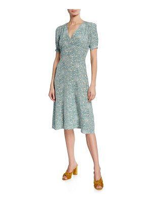 HVN Paula Printed Silk V-Neck Dress