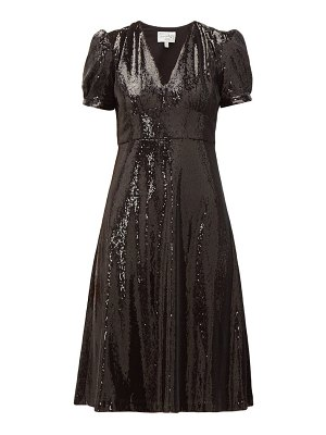 HVN paula v neck sequinned dress