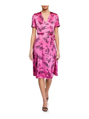 HVN Rosemary Button-Front Leopards Silk Dress