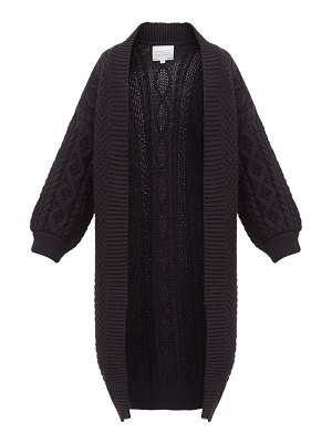 I Love Mr Mittens long line open front cabled wool cardigan