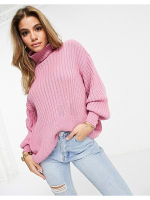 I Saw It First balloon sleeve knitted sweater in pink