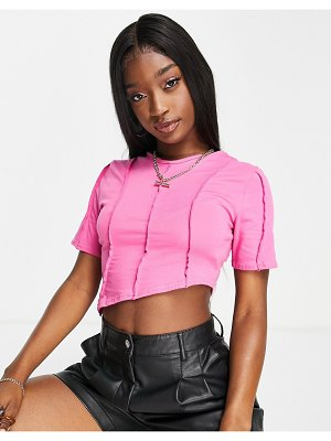 I Saw It First exposed seam crop top in hot pink