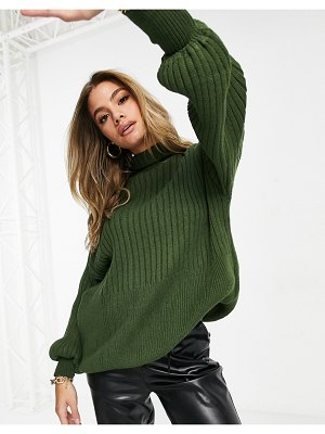 I Saw It First knitted oversized balloon sleeve sweater in khaki-green